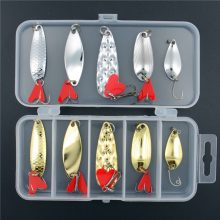 Fishing Lure Set| Spoon Metal Lures with tackle box | Great Fishing gear