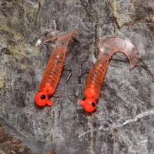 17pcs/set Fishing Lure Lead Jig Head Hook Grub Worm Soft Baits Shads Silicone fishing tackle FE5#