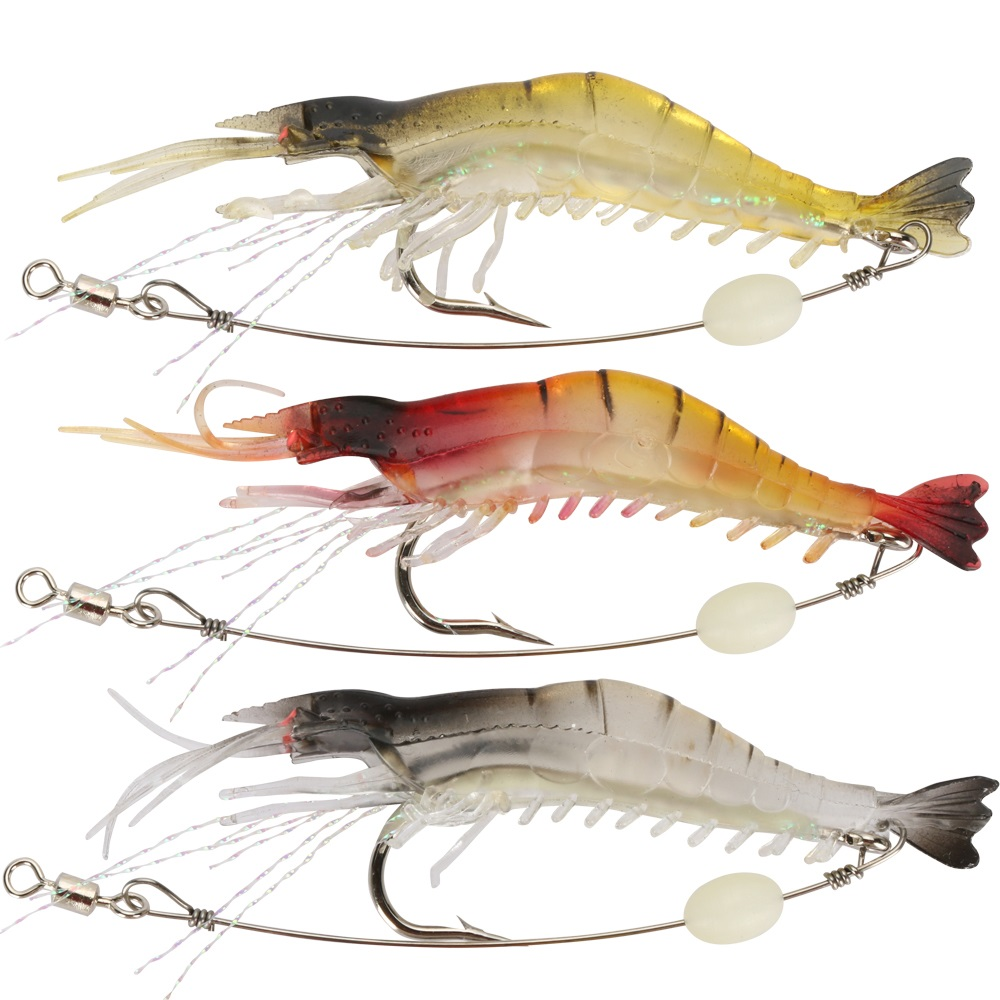 shrimp fishing lure 5pcs luminous silicone soft bait