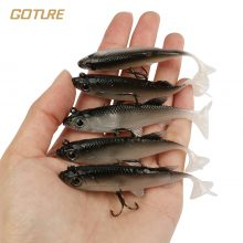 Goture 5pcs/lot Grey Soft Lure 8.5cm 16g Wobblers Artificial Bait Silicone Fishing Lures Sea Bass Carp Fishing Lead Fish Jig
