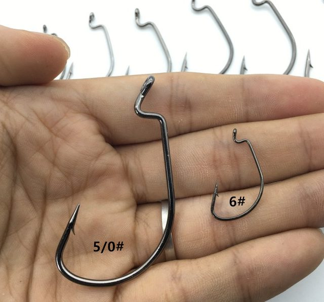 Worm Hooks | 20 Pcs Black Nickel Fishing Hooks