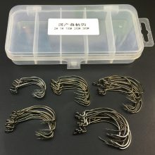Stainless Steel Fish Hooks with Free Tackle Box | 50 Pcs Sharp Barbed Fish hook