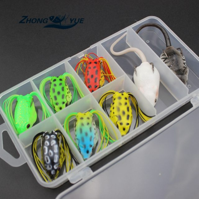 Top water Fishing Lures | Soft plastic frog lures 6 pcs | mouse 2 pcs