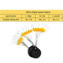 [20set=120PCS] Yellow Olives space beans Rubber Tendon Size S M L Stopper  Fishing Tackle Accurate Positioning Float