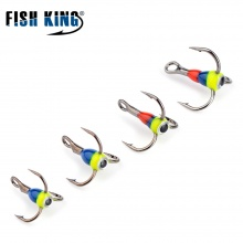 FISH KING 1lot/5pcs 5colors 8# 10# 12# 14# Winter ice Fishing Treble Hook High Carbon Steel  Fishing Tackle Tools