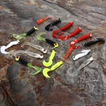 17Pcs/Set Mini Soft Fishing Lure Lead Jig Head Hook Grub Worm Soft Baits Shads Silicone Fish Lures for Ocean Carp Fishing Pesca